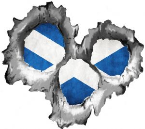 Bullet Hole Torn Metal 3 Shots With Scotland Scottish Saltire Flag Car Sticker 95x85mm